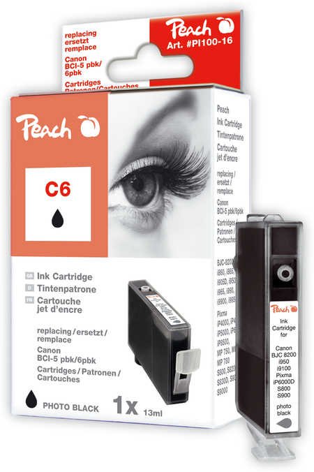Peach  Tintenpatrone photo schwarz kompatibel zu Canon BJC 8200