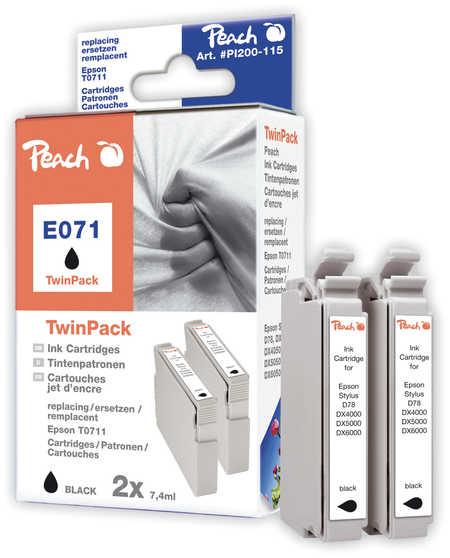 Peach  Doppelpack Tintenpatronen schwarz kompatibel zu Epson Stylus Office BX 310 FN