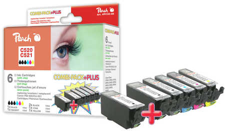 Peach  Spar Pack Plus Tintenpatronen, XL-Ergiebigkeit, kompatibel zu Canon Pixma MP 620