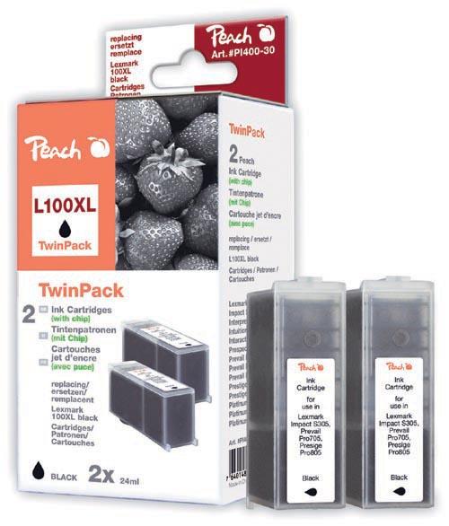 Peach  Doppelpack 2 Tintenpatronen schwarz kompatibel zu Lexmark Prospect Pro 205
