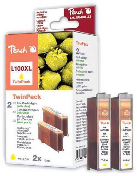 Peach  Doppelpack 2 Tintenpatronen gelb kompatibel zu Lexmark Prospect Pro 205
