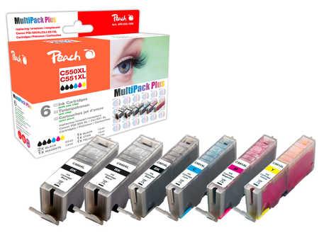 Peach  Spar Pack Plus Tintenpatronen, XL-Ergiebigkeit, kompatibel zu Canon Pixma MX 725