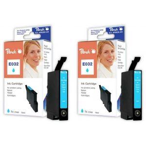 Peach  Doppelpack Tintenpatronen cyan kompatibel zu Epson Stylus C 80 7640162272292