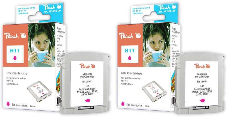Peach  Doppelpack Tintenpatronen magenta kompatibel zu HP Business InkJet 1000