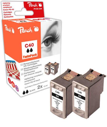 Peach  Doppelpack Druckköpfe schwarz kompatibel zu Canon Pixma IP 1600