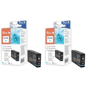 Peach  Doppelpack Tintenpatronen cyan kompatibel zu Epson WorkForce Pro WP-4520 7640162273428