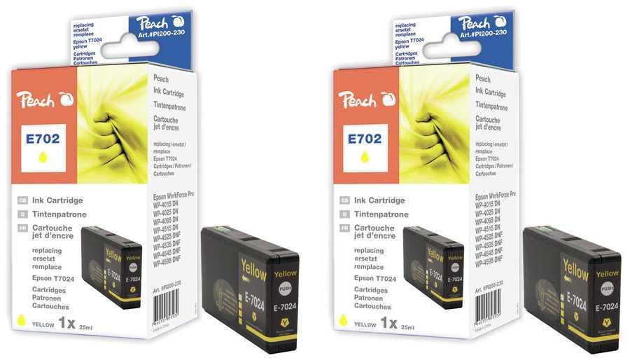 Peach  Doppelpack Tintenpatronen gelb kompatibel zu Epson WorkForce Pro WP-4095 DN